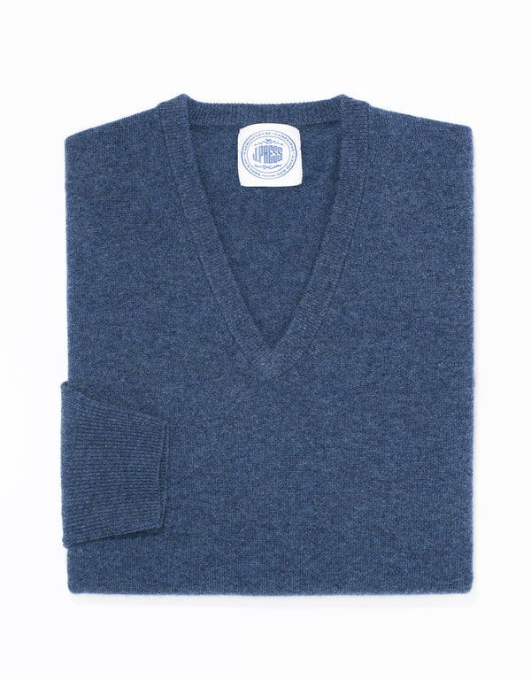 LAMBSWOOL V NECK SWEATER - BLUE