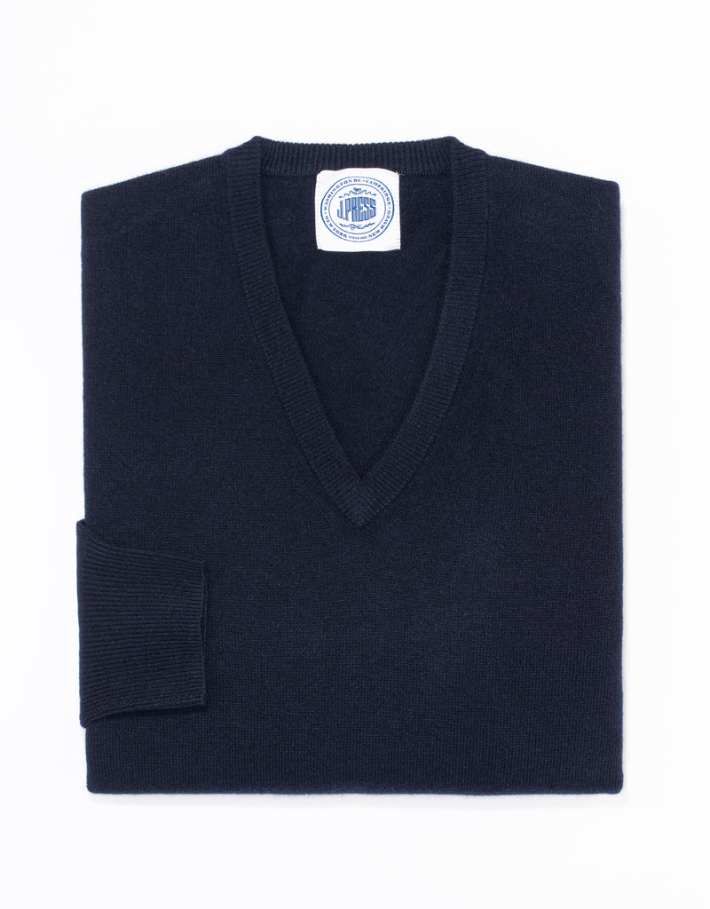 LAMBSWOOL V NECK SWEATER - NAVY