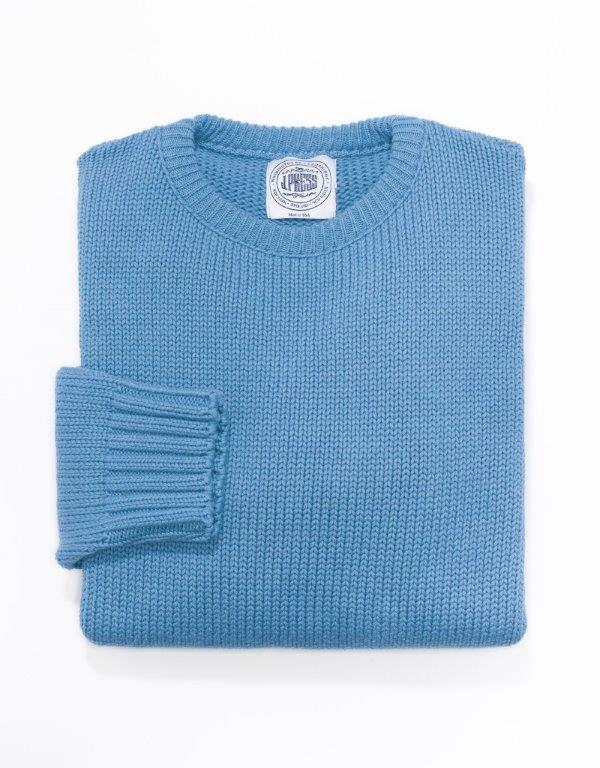 COTTON CREW NECK SWEATER - DENIM