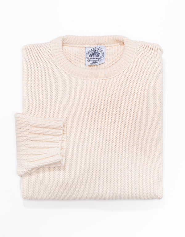 J. PRESS COTTON CREW NECK SWEATER - NATURAL