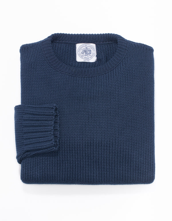 J. PRESS COTTON CREW NECK SWEATER - NAVY BLUE