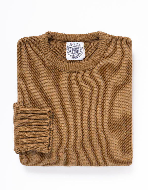 COTTON CREW NECK SWEATER - CARAMEL