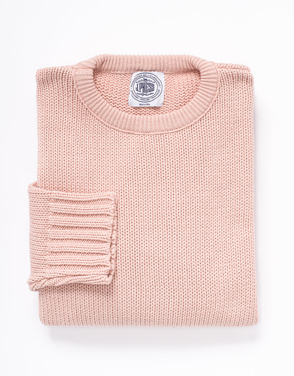 COTTON CREW NECK SWEATER - PINK
