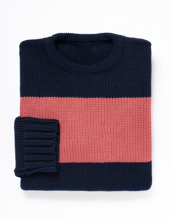 COTTON CREW NECK SWEATER - NAVY/RED STRIPE
