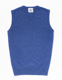 BLUE LAMBSWOOL V NECK VEST