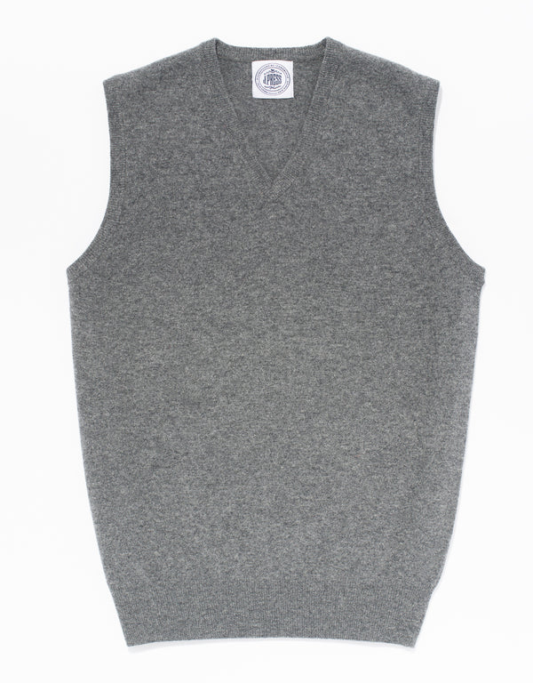 GREY LAMBSWOOL V-NECK VEST