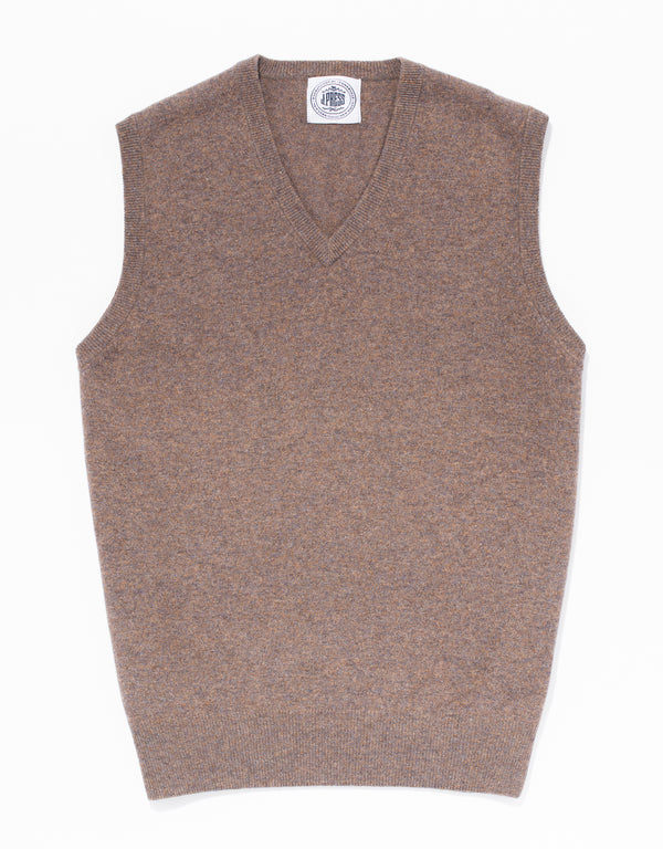 LIGHT BROWN LAMBSWOOL V-NECK VEST
