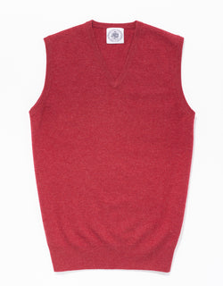 RED LAMBSWOOL V NECK VEST