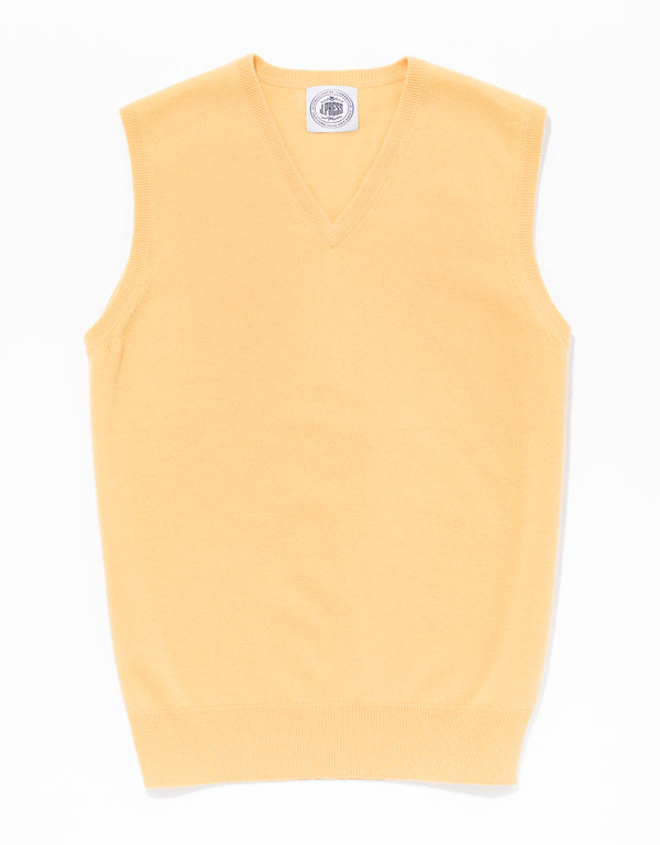YELLOW LAMBSWOOL V NECK VEST