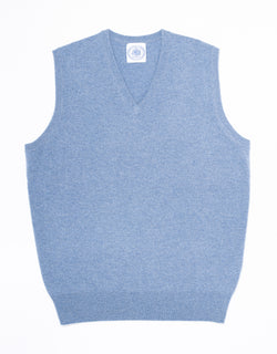 LIGHT BLUE LAMBSWOOL V-NECK VEST