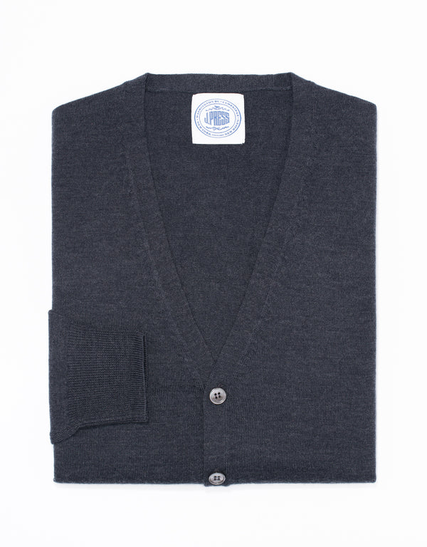 MERINO WOOL V NECK CARDIGAN - CHARCOAL