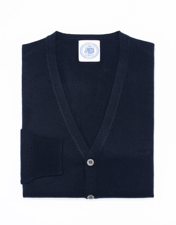 MERINO WOOL V NECK CARDIGAN - NAVY