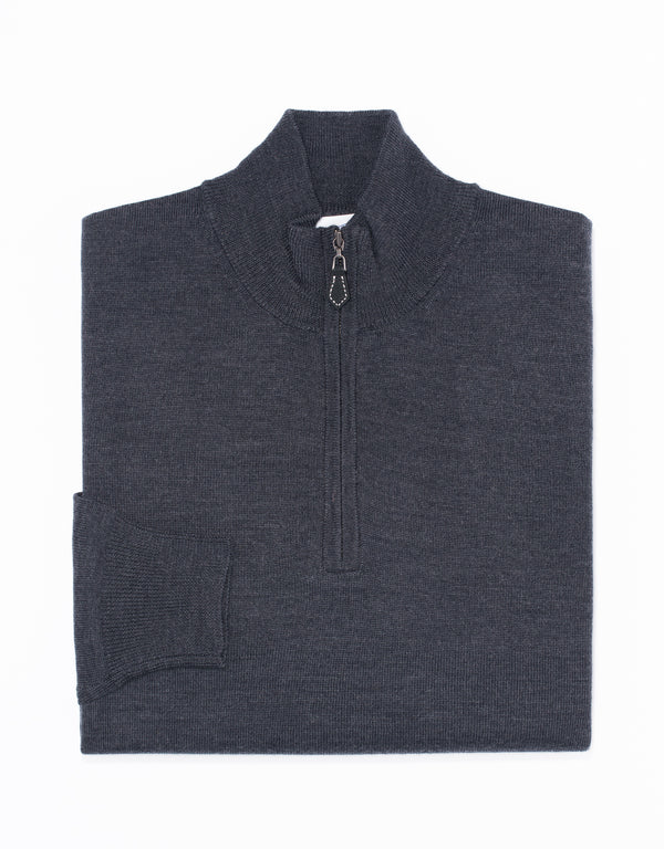 MERINO WOOL 1/4 ZIP UP - CHARCOAL