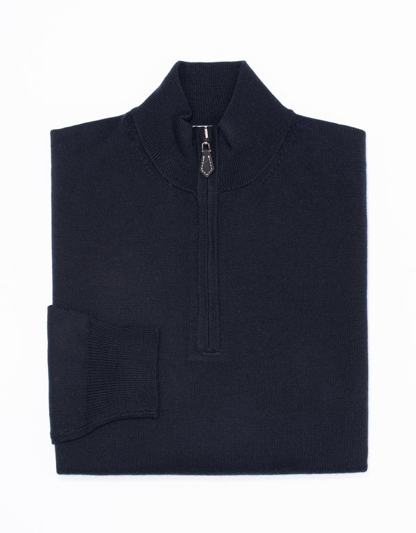 MERINO WOOL 1/4 ZIP UP - NAVY