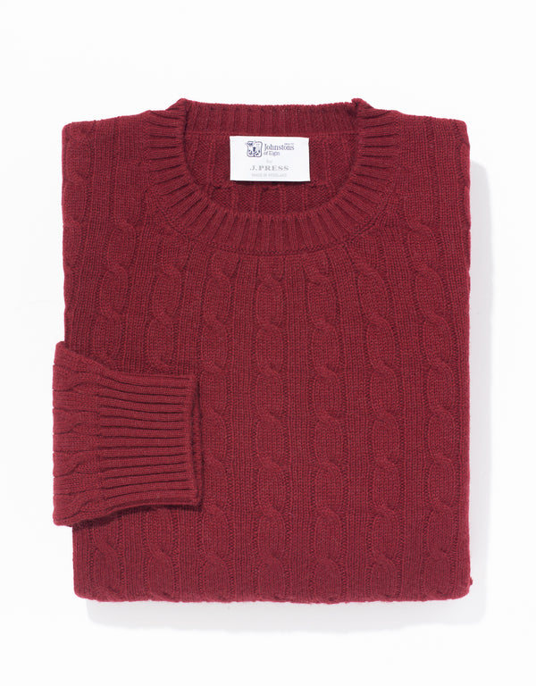 BURGUNDY CREW NECK CASHMERE CABLE SWEATER