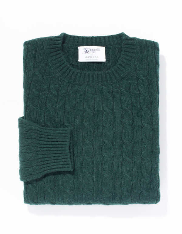 GREEN CREW NECK CASHMERE CABLE SWEATER
