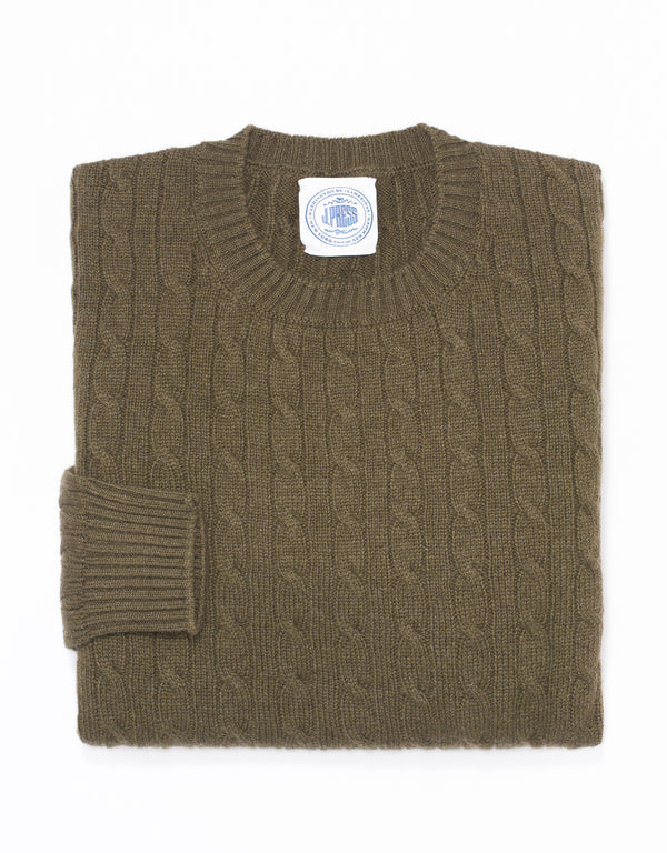OLIVE CREW NECK CASHMERE CABLE SWEATER