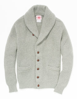 GREY CASHMERE SHAWL COLLAR CARDIGAN