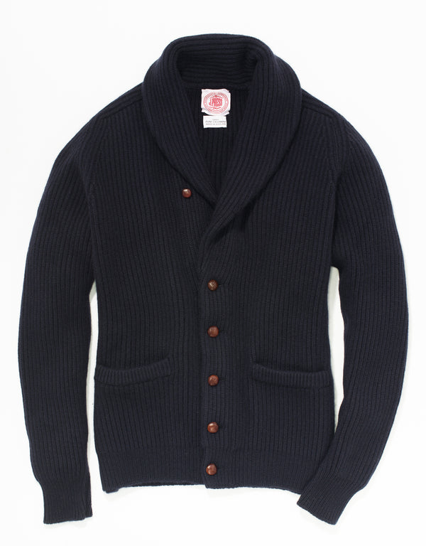NAVY CASHMERE SHAWL COLLAR CARDIGAN