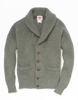 GREY GEELONG SHAWL COLLAR CARDIGAN