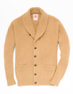 CAMEL SHAWL COLLAR CARDIGAN
