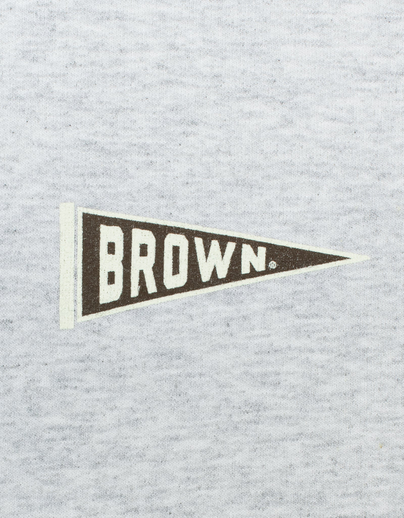 GREY LONG SLEEVE HOODIE - BROWN