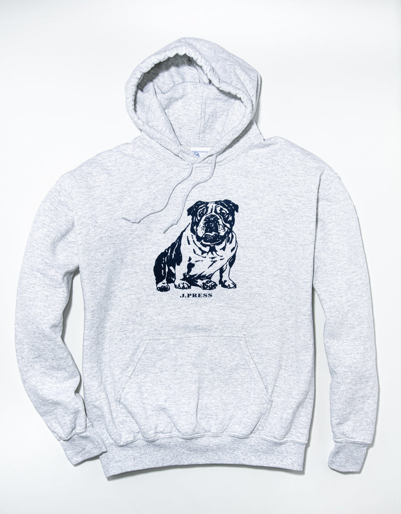 J. PRESS LONG SLEEVE BULLDOG HOODIE - GREY