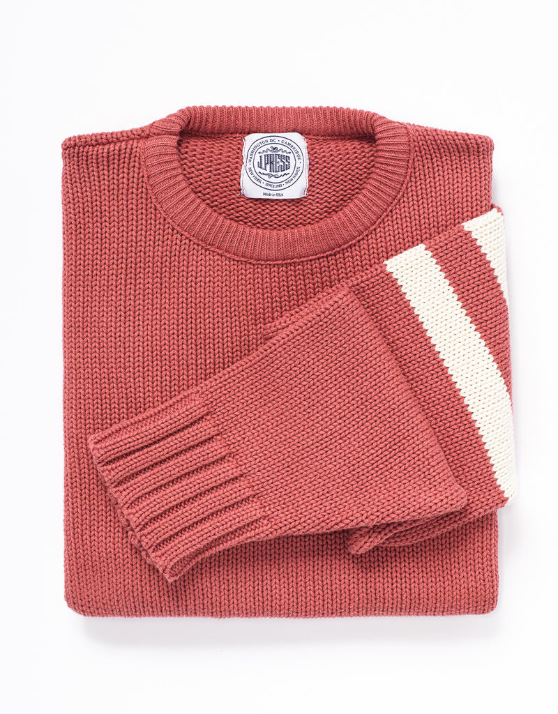 J.PRESS X MURRAY'S TOGGERY SHOP COTTON CREW NECK SWEATER - NANTUCKET RED