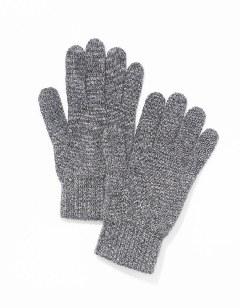 CASHMERE JERSEY GLOVES - CHARCOAL
