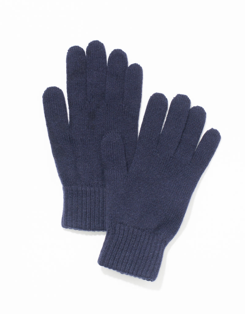 CASHMERE JERSEY GLOVES - NAVY