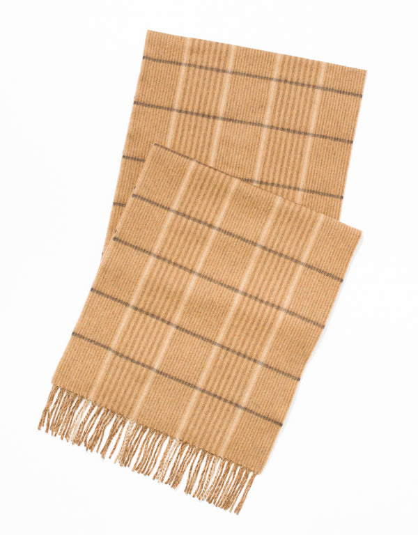 ESCORIAL WOOL SCARF - CAMEL/BROWN