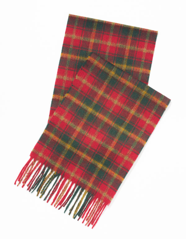 LAMBSWOOL TARTAN SCARF-DARK MAPLE