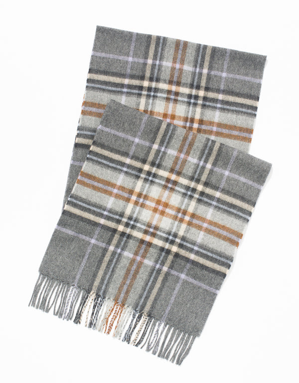 ESCORIAL WOOL SCARF - CHARCOAL/OATMEAL