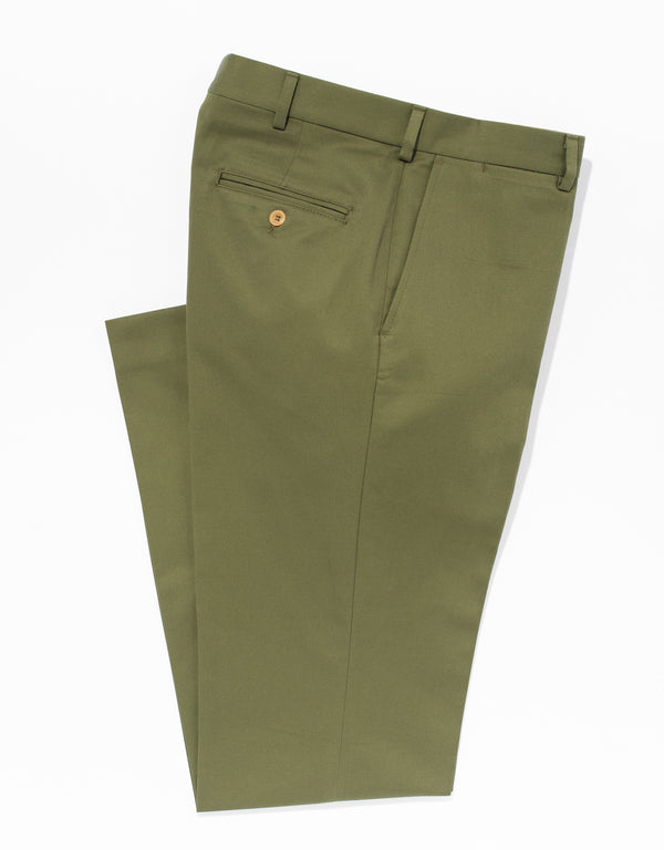 OLIVE WASHED TWILL CHINO PANTS