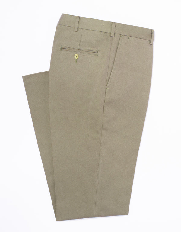 OLIVE BRUSHED TWILL PANTS