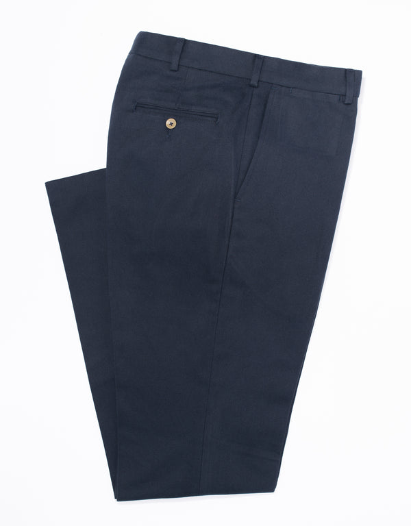 NAVY BRUSHED TWILL PANTS