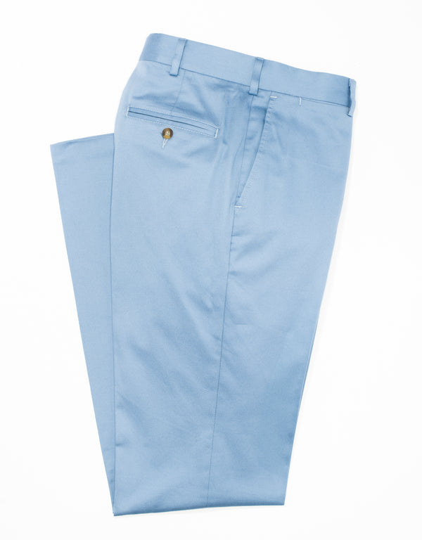 WASHED TWILL CHINO CLASSIC TROUSERS - BLUE