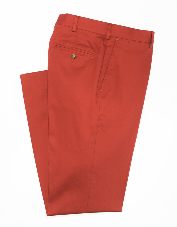 J. PRESS WASHED TWILL CHINO CLASSIC TROUSERS - RED