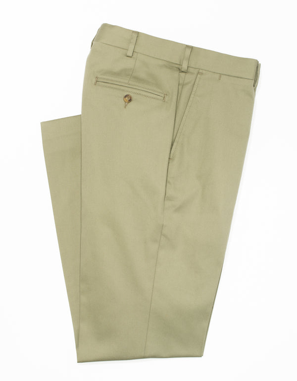 WASHED TWILL CHINO CLASSIC TROUSERS - SAGE
