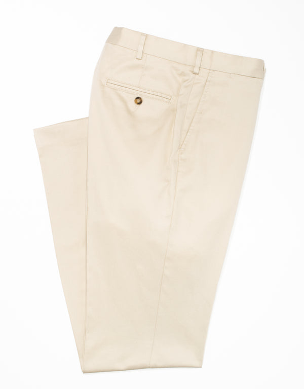 WASHED TWILL CHINO CLASSIC TROUSERS - STONE
