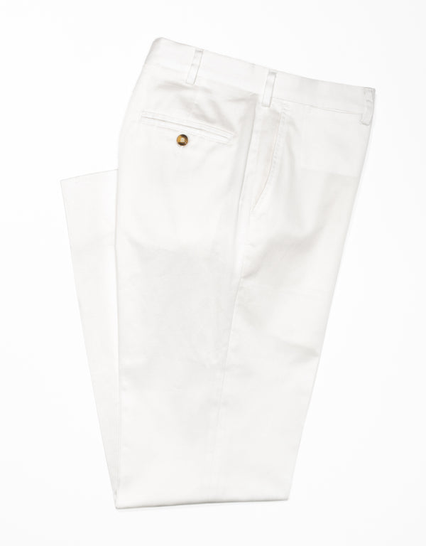 WASHED TWILL CHINO CLASSIC TROUSERS - WHITE