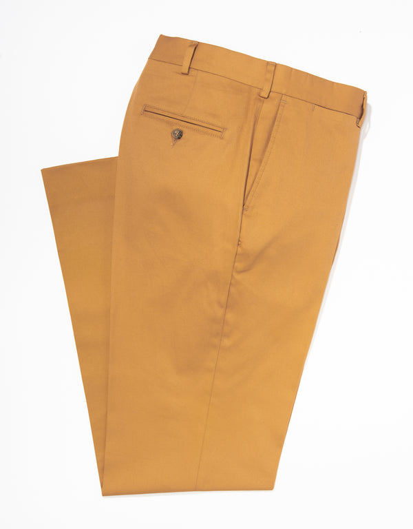 J. PRESS WASHED TWILL CHINO CLASSIC TROUSERS - WHEAT