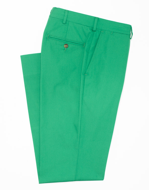J. PRESS POPLIN CLASSIC TROUSERS - GREEN