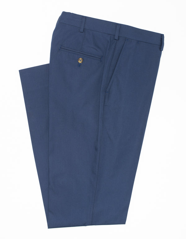 COTTON POPLIN CLASSIC TROUSERS - NAVY