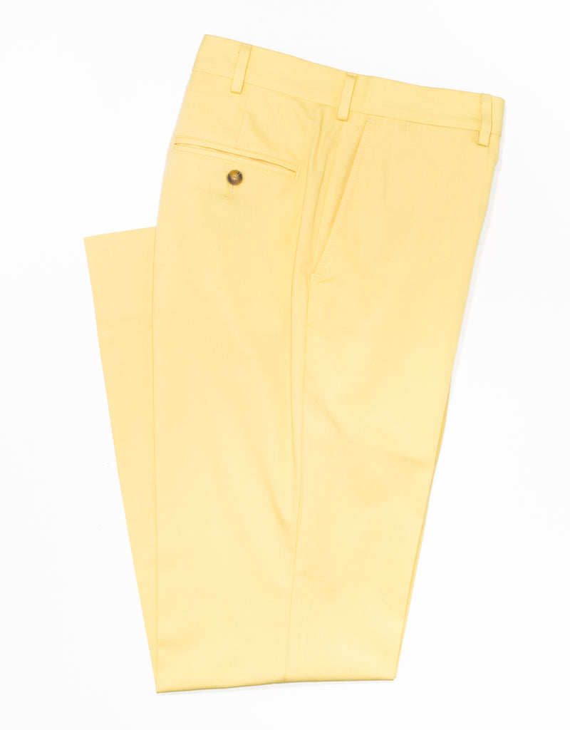 COTTON POPLIN CLASSIC TROUSERS - YELLOW