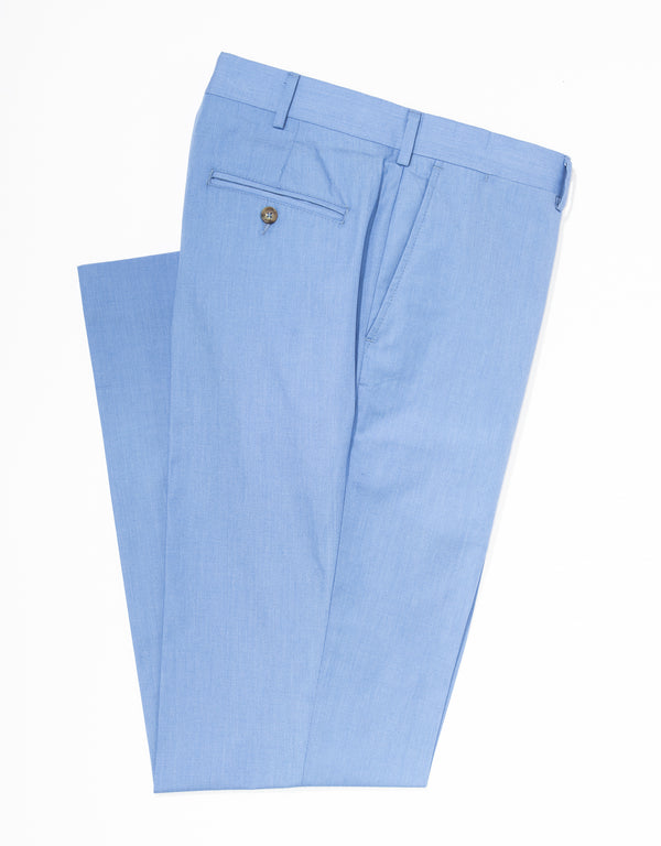 J. PRESS POPLIN CLASSIC TROUSERS - BLUE