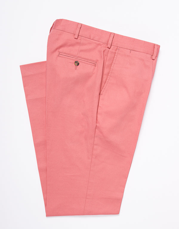 WASHED TWILL CHINO CLASSIC TROUSERS - PINK