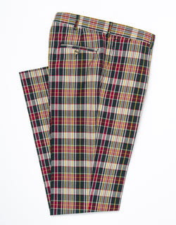 MADRAS CLASSIC TROUSERS - NAVY/RED/GOLD
