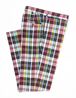J. PRESS MADRAS TROUSERS - RED/NAVY/WHITE
