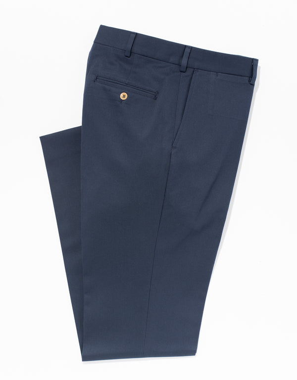 NAVY COTTON CHINO PANTS